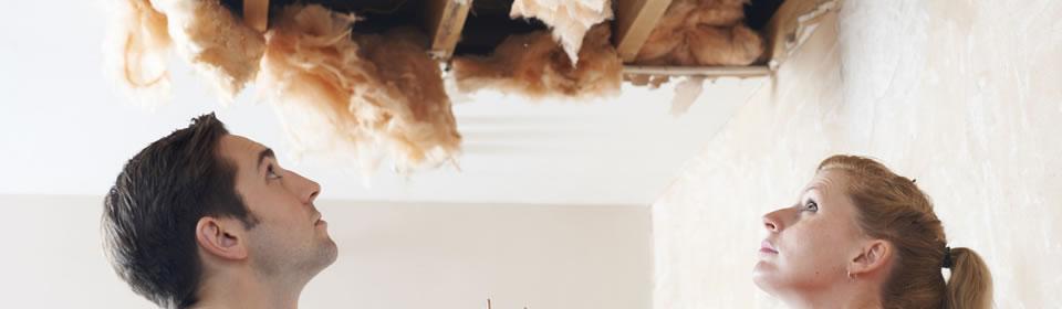kapot plafond door lekkage in riool